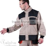 cotton removable long sleeves workwear suit with functional pockets and PU on shoulders and elbows mens warehouse suits
