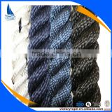 white navy blue black 3 strand twist nylon polyester pp rope cord