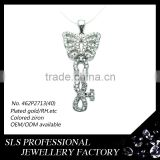 Butterfly shape German silver pendant WITH cubic CZ&Rhodium ,and Exporting natural gemstone pendant of KEY