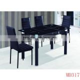 china factory cheap glass top dining table chair set