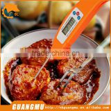Digital BBQ Grill Food / Meat Cooking Thermometer: Instant Read, Foldable Internal Probe (Orange)
