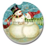 Chrismas Gift 4 Color Painted Absorbent Ceramic Car Coaster