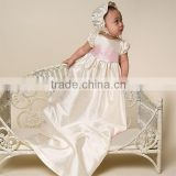 floral embroidered lace and pearl buttons baby christening gown                                                                         Quality Choice