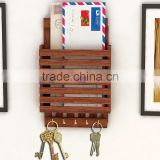 2015 new design bamboo Letters Holder hang on the wall with key holder bamboo letter rack