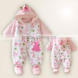2016 Hottest Long sleeve baby printed winter and spring flannel hooked rompers set for baby girls