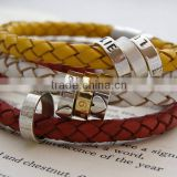 Lovely Braided Leather Bracelet with Stainless Steel Clasp and 316l Rings Coloful Custom Women Bangle