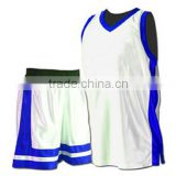 100% Polyester Basketball Uniform, Shirt, Shorts White with Royal Blue Trims & Panels