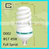High quality CFL LAMP FULL SPIRAL LAMP 8000H CE/55w/7w/9w/45w/30w full spiral energy saving lamps