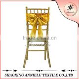 100%polyester gold satin chair sash bow
