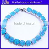 Cheap 925 Sterling Silver Blue Opal Unisex Friendship Bracelets