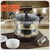 NEW Belly Shape 22cm Stainless Steel Hot Pot with glass lid and bakelite handle with capacity 8 QT stew pot