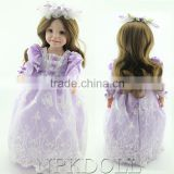 Beautiful purple dress american girl dolls newest design fashion wedding dress vinyl 18inch American baby gril doll