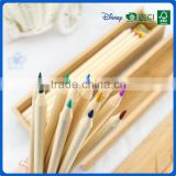 Eco friendly colour pencils crayon set with wooden pencil sharpener into wooden sliding drawer box