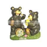 Cartoon resin eatting black bear Figurine