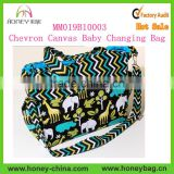 Nappy Diaper Bag Elephants Chevron Canvas Baby Changing Bag