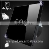 Whosaler Wallpad Modern LED Backlight Waterproof Black Tempered Glass 110~250V Light Dimmer Touch Screen Dimmer Light Switches