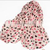 TOP Fashion Printed loving heart thin scarf Chiffon silk Women Popular Scarves160*60 Pashmina Shawls
