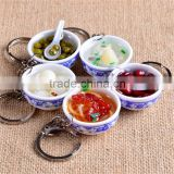 Hot selling plastic keychains custom special key rings delicious food 3D shape hard pvc keychains
