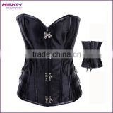 Black Satin Overbust Corset Vintage Metal Clasps Lace Up Back Basque Shapewear Corsets Sale