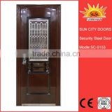 SC-S153 Low Price Stainless Steel Grill Door Design for Sale, China Manufacturer Small Exterior Door with Opening Window