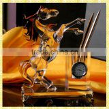 Antique Pen Holder Clock Crystal Office Desk Gifts With Horse Figurines