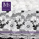 Newest white polyester cotton garment fabric, cotton flower mesh knit fabric for bride dress