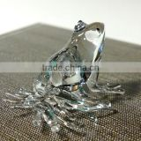 Tiny Crystal Frog Hand Blown Clear Glass Art Figurine Amphibian Animal Collection Home Decor
