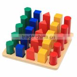 Ealy education Montessori Wood baby Toy Geometry Cylinder Ladder block puzzle
