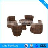 Outdoor Synthetic Rattan Furniture 4 Seated Leisure Table And Chairs