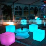 party decoration led cube chair/PE plastic material led cube stool with rechargable battery
