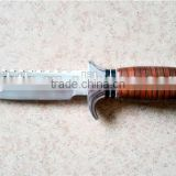 High quality stainless steel fixed blade knife integral hunting survival knife with wood handle