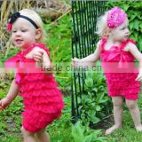 2014 New style!wholesale kids hot pink lace romper for toddlers RO011