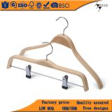 Top quality wooden clothes hangers, Natural color clothes hangers with trousers bar