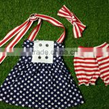 2016 baby dress wholesale 4th of july girls outfits palka dot dress ruffle shorts kids flutter dress photo giggle moon remake