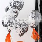 12inch Clear Balloon with Black Confetti Halloween Party Decoration Latex Balloon Party Shower Supplies