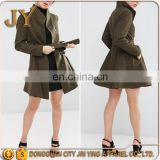 China Wholesale Ladies Slim Fit Waisted Belt Button Placket Khaki Winter Skater Coats JYABC032