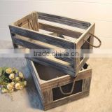 Vintage black stain custom logo antique wooden storage crate with rope handle