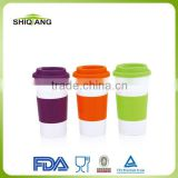 450ml promotional product double wall stainless steel tea mugs and cups with rubbler cover and silicon lids