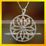 low price high quality fashional design unique 925 sterling silver flower shaped pendant with cz paypal acceptable