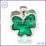Valentine's Day 925 sterling silver green enamel four leaf bead charm for DIY European charms bracelet