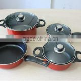 7 pcs carbon steel non- stick cookware set dinner ware set frying pan kitchen set kitchen utensils