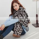 New Design Fashion Winter Wool Cashmere Pashmina Leopard Jacquard Ladies Stole Shawl Scarf