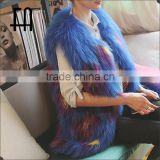 Factory direct wholesale new style multi-color block color white raccoon dyed fur jacket