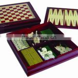 5 in 1 wood game set printing chess game set chess box chess board 8809