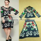 Hot selling 2014 winter-autumn unique design branded key flower knitted sweater twinset dresses for fashion women D1690501