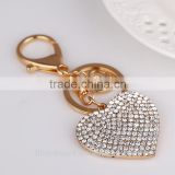 Creative rhinestone heart keychain charm women handbag CZ diamond keyring Crystal lover key holder bag accessory Valentine gift