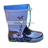 cute giraffe print kids rain boots with collar,high quality gum boots children,whosale rubber boots