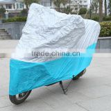 anti theft motorbike cover PU coated blue and silver color