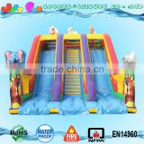 big inflatable slide the safari theme, animal inflatable slide for sale, 3d elephant n hippo double lane slide