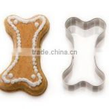 100% food grade top standard stainless steel dog bone cookie cutter